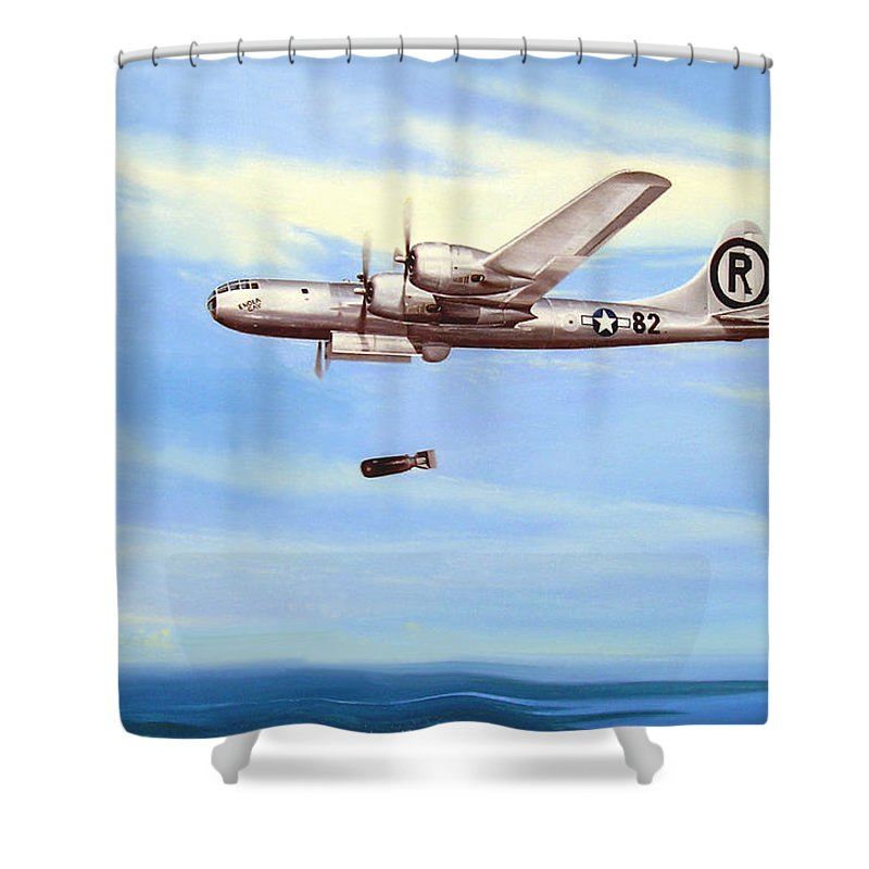 Military Shower Curtain featuring the painting Enola Gay by Marc Stewart