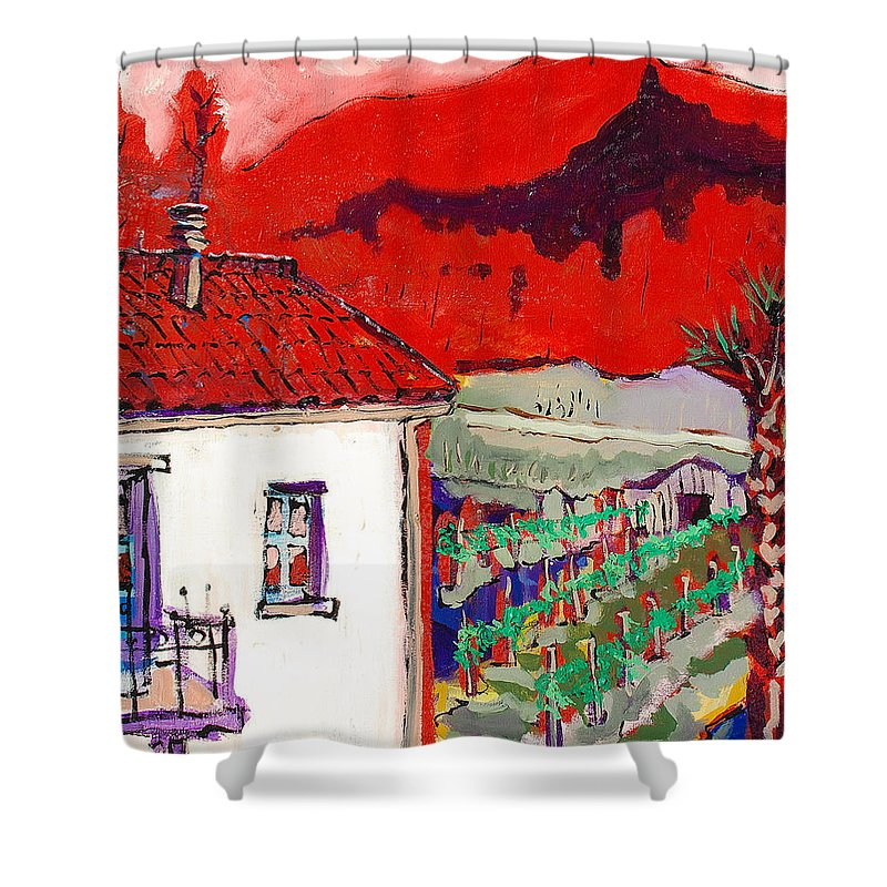 Shower Curtain featuring the painting Enrico's View by Kurt Hausmann