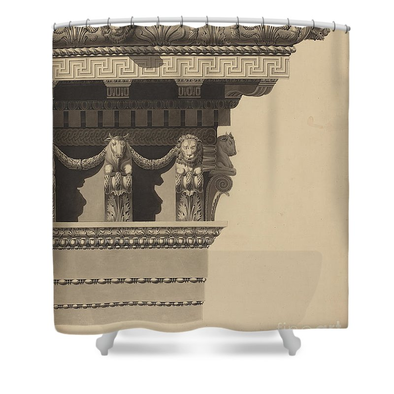 Shower Curtain featuring the drawing Entablature by Auguste Delacouture