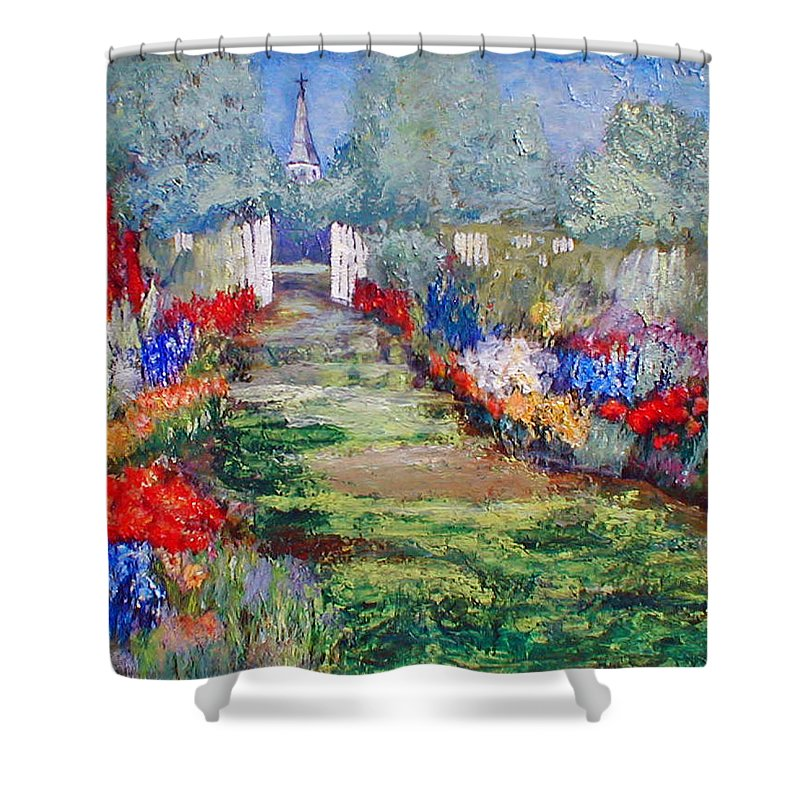 Landscape Shower Curtain featuring the painting Enter His Gates by Gail Kirtz