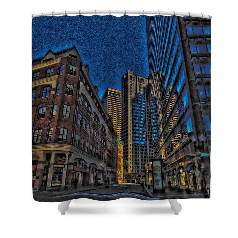 City Shower Curtain featuring the digital art Enter by Vincent Green