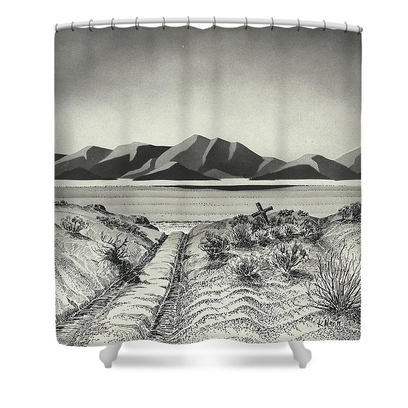 Pen U0026 Ink Shower Curtain Featuring The Drawing Entering The 40 Mile Desert  By Kenneth Mann