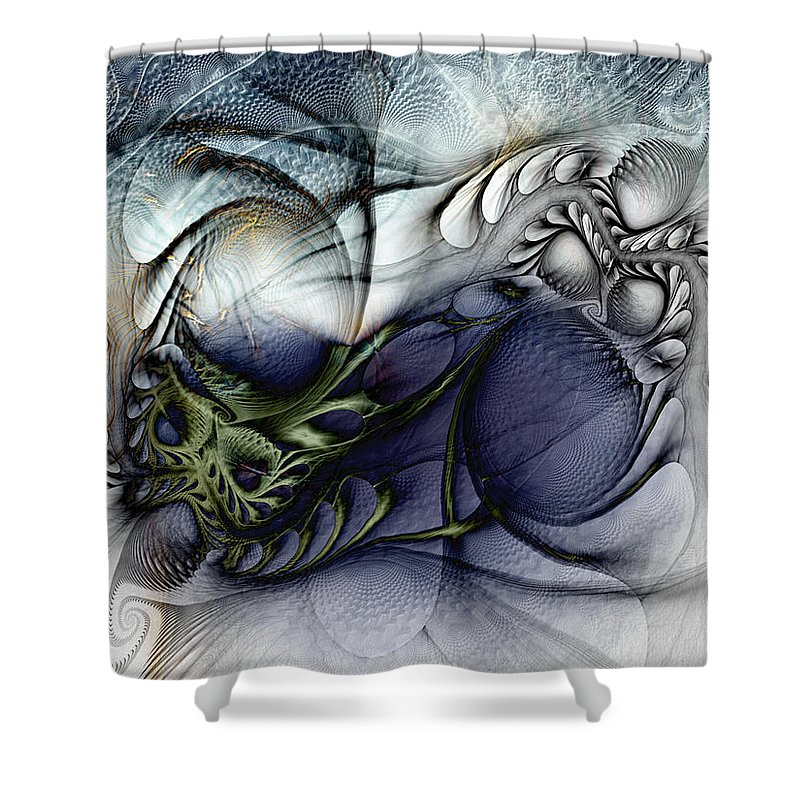 Abstract Shower Curtain featuring the digital art Enterolithic by Casey Kotas