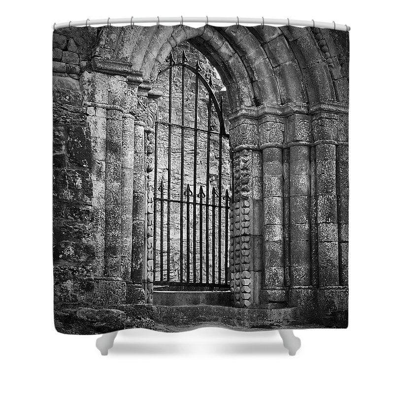 Irish Shower Curtain featuring the photograph Entrance To Cong Abbey Cong Ireland by Teresa Mucha