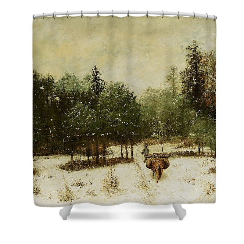 Entrance Shower Curtain featuring the painting Entrance To The Forest In Winter by Cherubino Pata