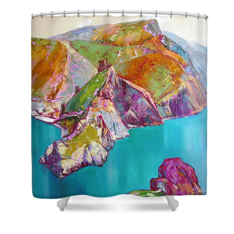 Ignatenko Shower Curtain featuring the painting Entry To Balaklaw by Sergey Ignatenko