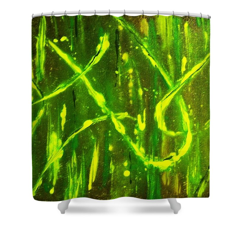 Abstract Shower Curtain featuring the painting Envy by Todd Hoover