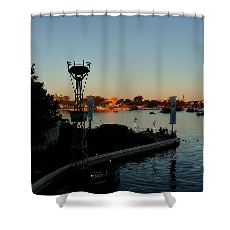 Epcot Shower Curtain featuring the photograph Epcot At Dusk by Nora Martinez