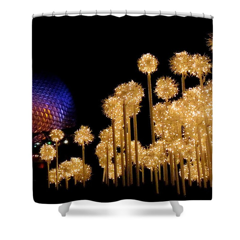 Epcot Shower Curtain featuring the photograph Epcot Christmas Night by Nora Martinez