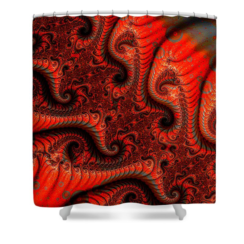 Clay Shower Curtain featuring the digital art Epidermal Emancipation by Clayton Bruster