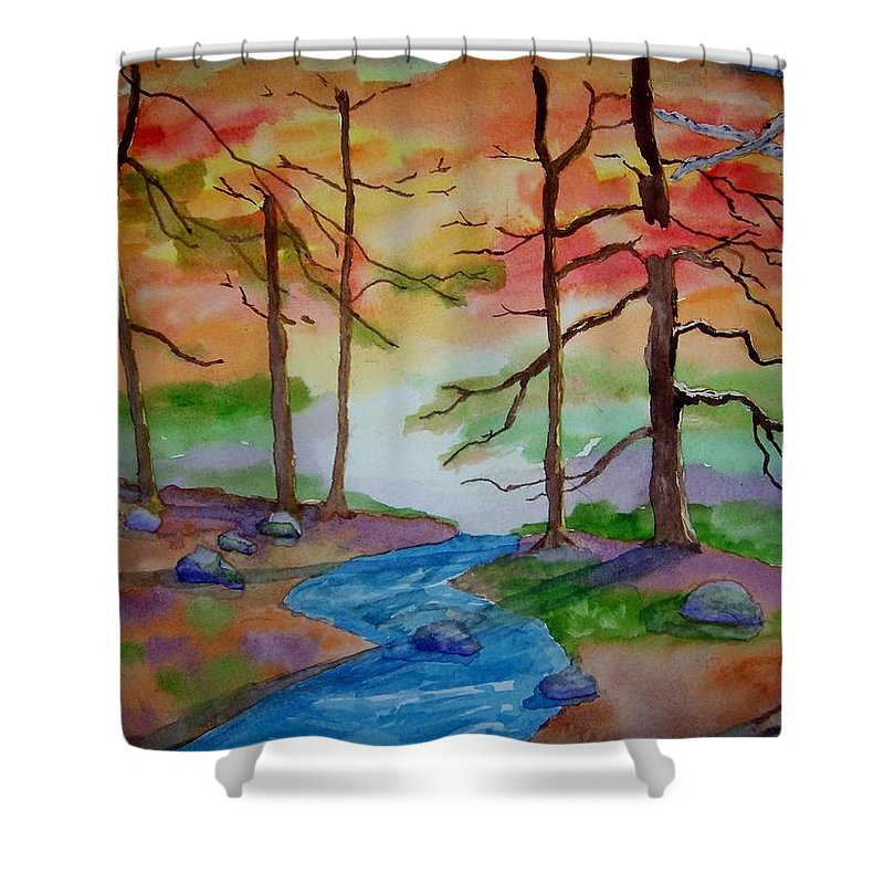 Woodland Shower Curtain featuring the painting Epiphany by B Kathleen Fannin