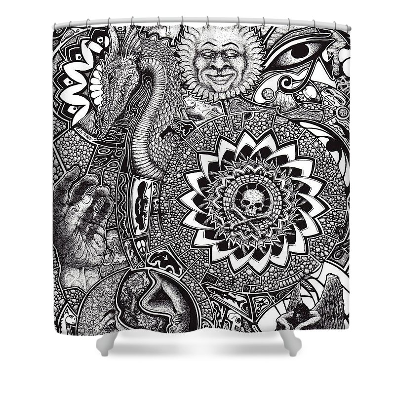 Black And White Shower Curtain featuring the drawing Epiphany by Tobey Anderson