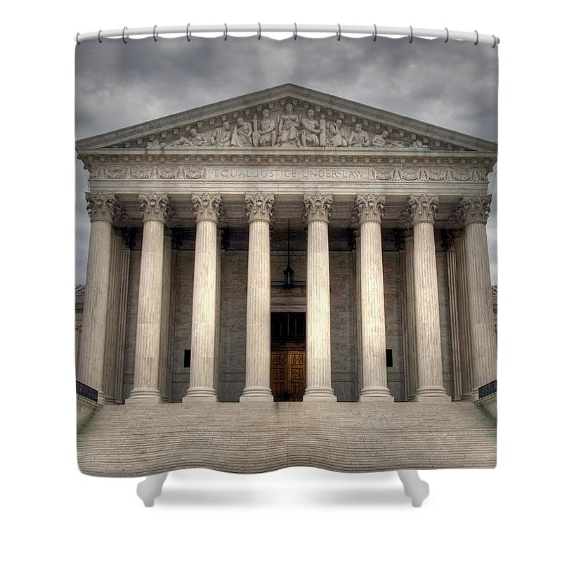 Law Shower Curtain featuring the photograph Equal Justice by Mitch Cat