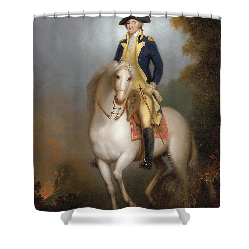 Equestrian Portrait Of George Washington Oil On Paper Laid Down Board 88