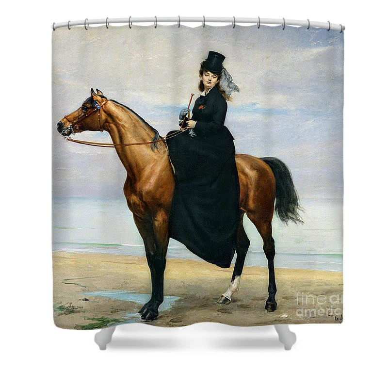 Equestrian Shower Curtain Featuring The Painting Portrait Of Mademoiselle Croizette By Charles Emile Auguste Carolus