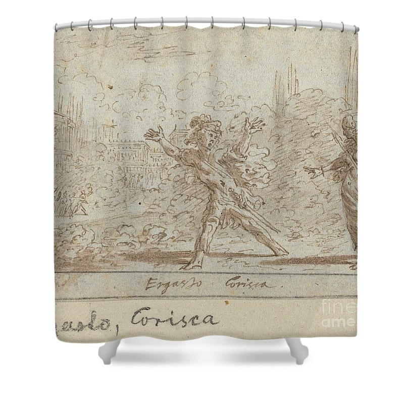 Shower Curtain featuring the drawing Ergasto And Corisca by Johann Wilhelm Baur