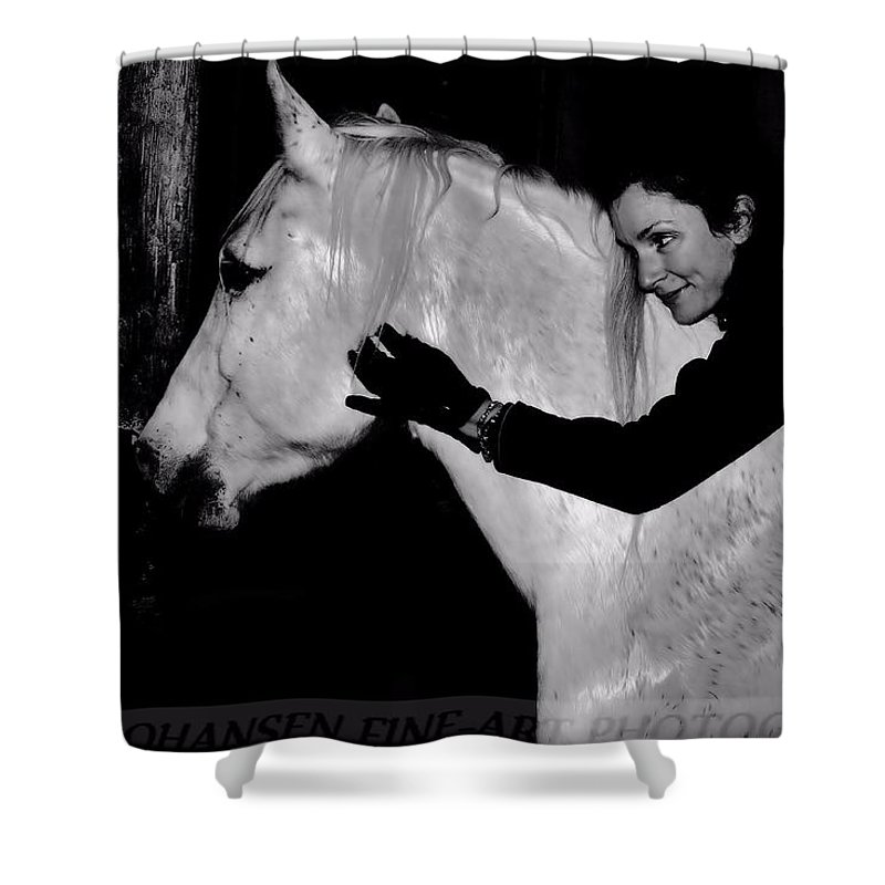 White Horse Shower Curtain featuring the digital art Erin and Mikey by Dawn Johansen
