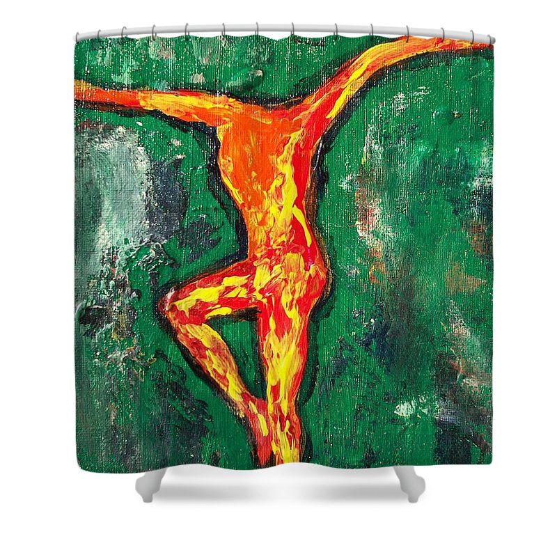 Fire Shower Curtain featuring the painting Erin by Laurette Escobar