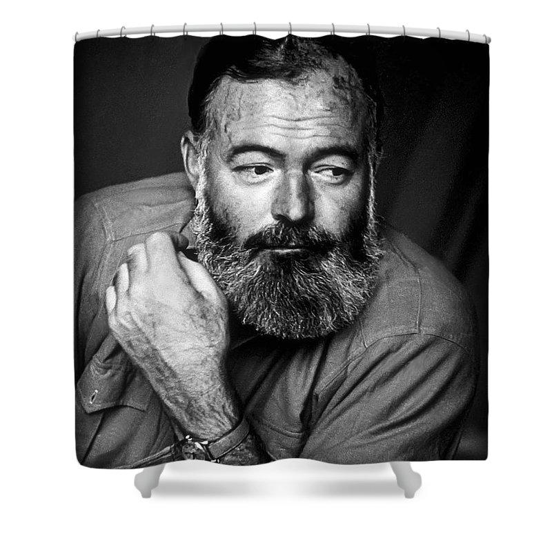 Hemingway Shower Curtain featuring the photograph Ernest Hemingway 1944 by Daniel Hagerman