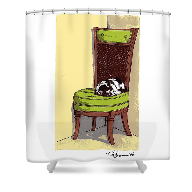 Cat Shower Curtain featuring the drawing Ernie And Green Chair by Tobey Anderson