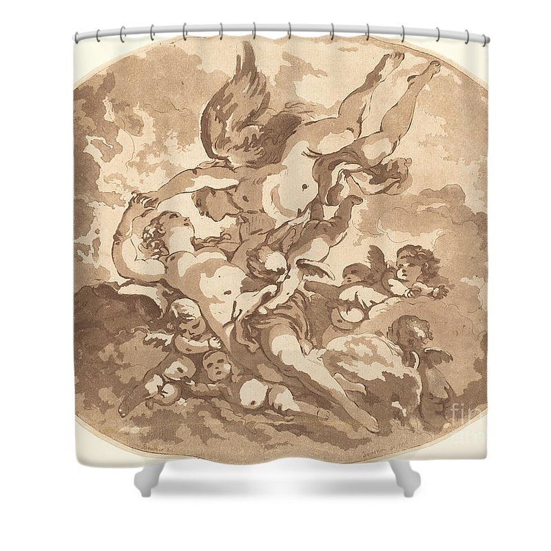 Shower Curtain featuring the drawing Eros And Psyche by Jean-claude-richard, Abb? De Saint-non After Fran?ois Boucher