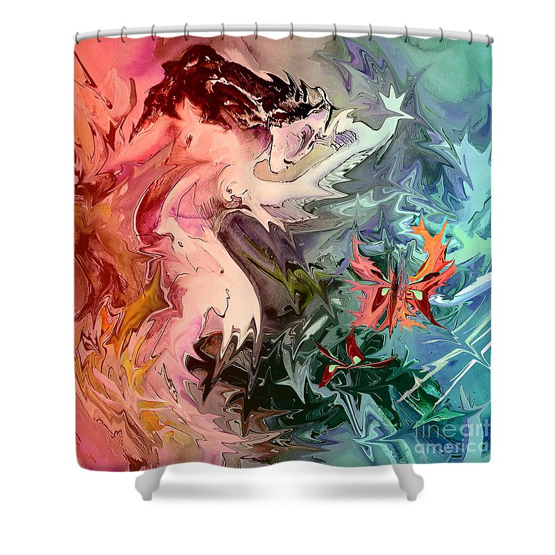 Miki Shower Curtain featuring the painting Eroscape 08 1 by Miki De Goodaboom