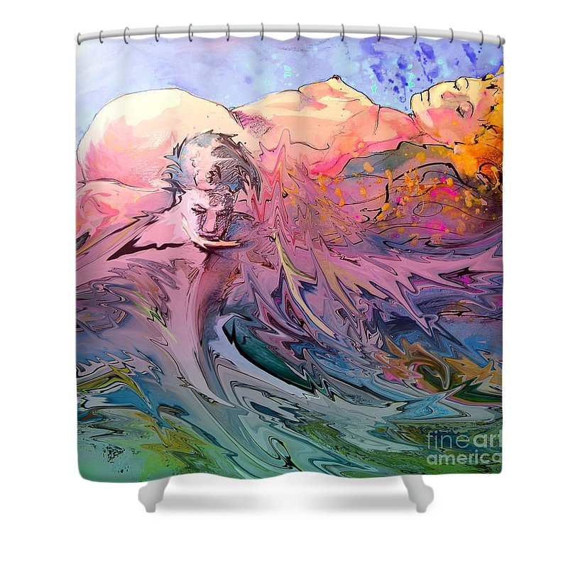 Miki Shower Curtain featuring the painting Eroscape 10 by Miki De Goodaboom