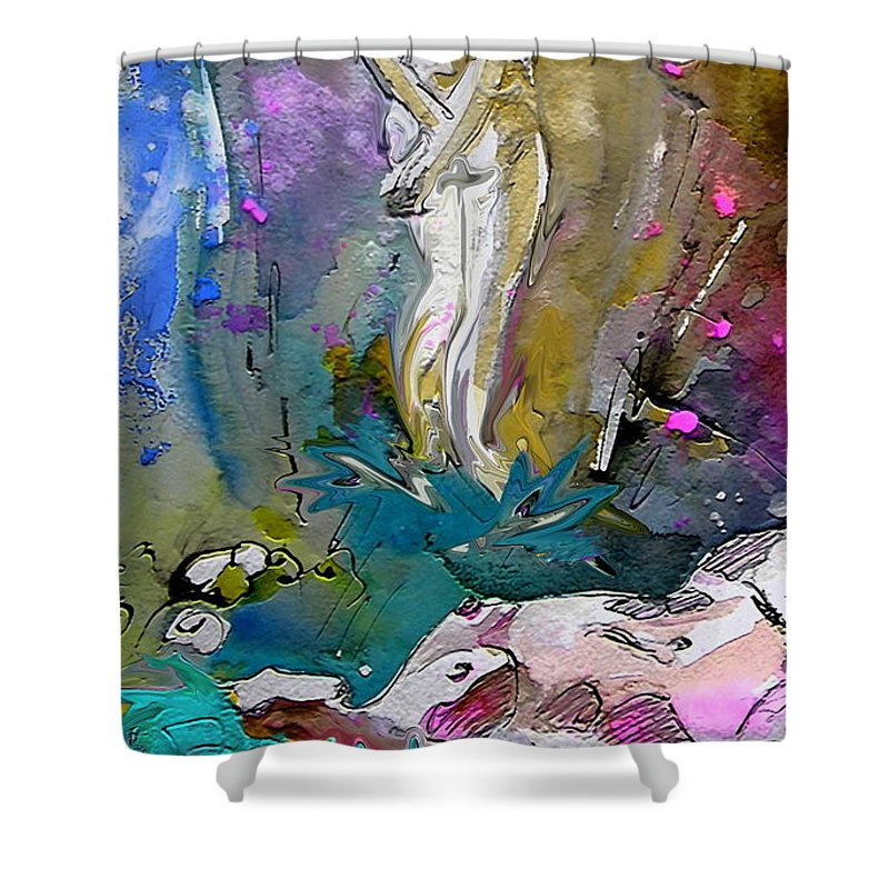 Miki Shower Curtain featuring the painting Eroscape 1104 by Miki De Goodaboom