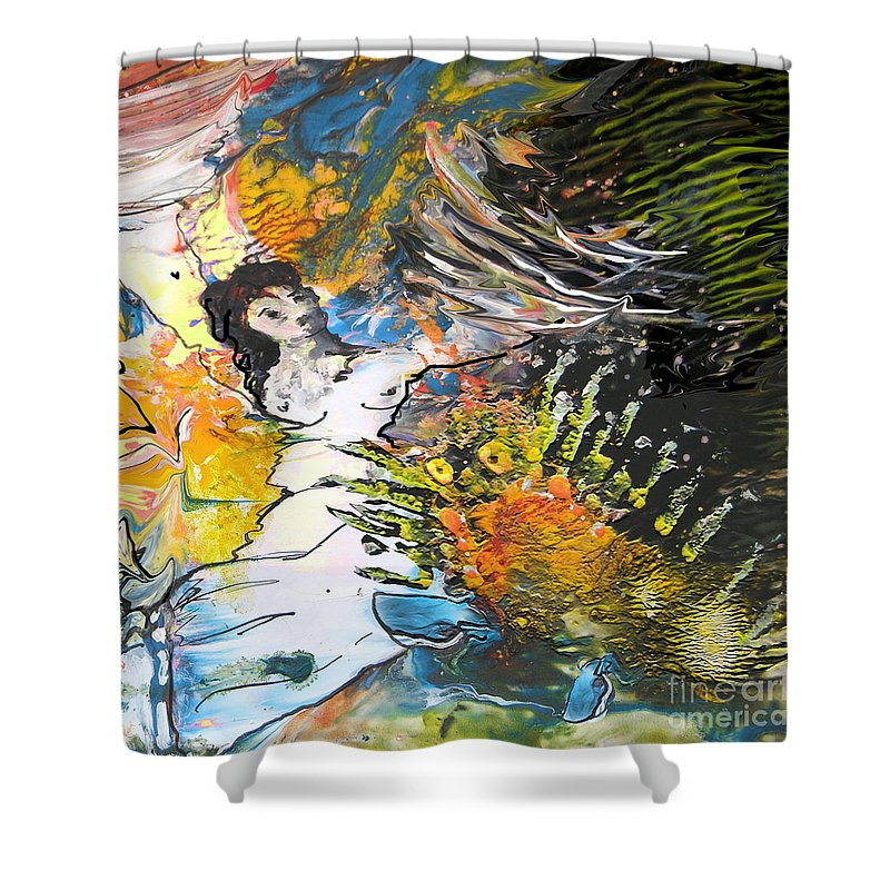 Miki Shower Curtain featuring the painting Erotype 07 2 by Miki De Goodaboom