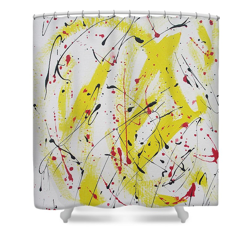 Eruption Shower Curtain featuring the painting Eruption by Arlene Wright-Correll