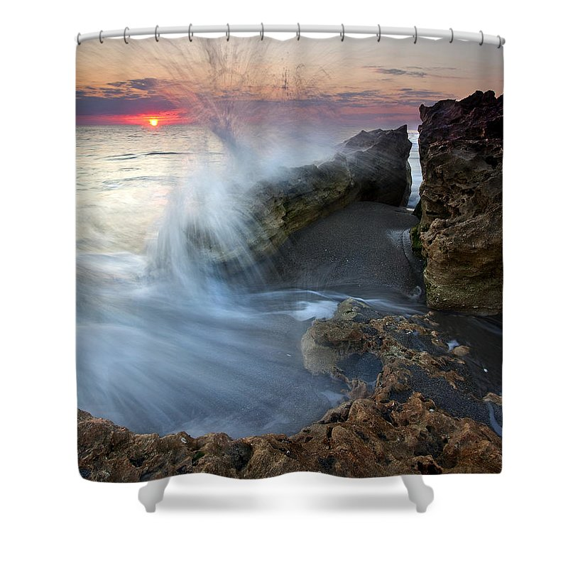 Blowing Rocks Shower Curtain featuring the photograph Eruption At Dawn by Mike Dawson