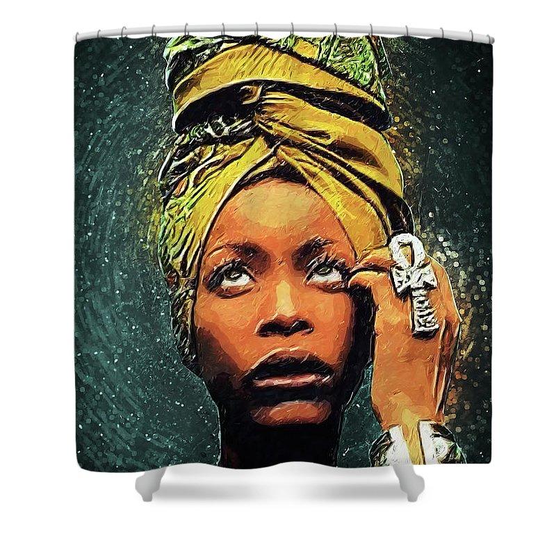 Erykah Badu Shower Curtain featuring the digital art Erykah Badu by Zapista OU