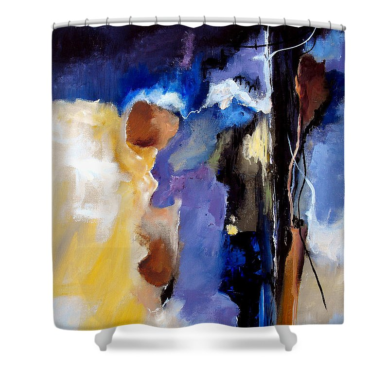 Abstract Shower Curtain featuring the painting Escape Attempt by Ruth Palmer