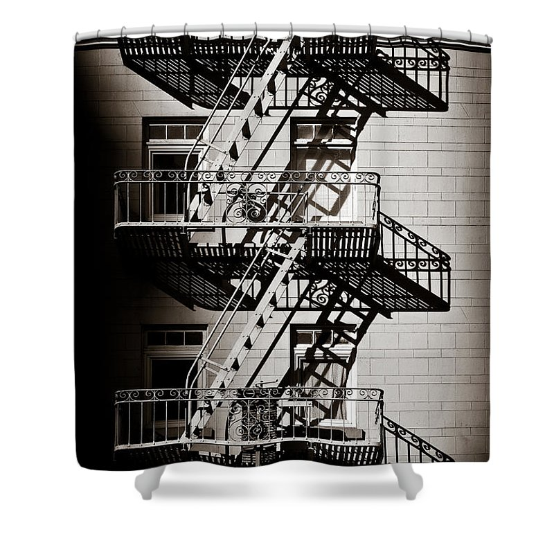 Fire Escape Shower Curtain featuring the photograph Escape by Dave Bowman