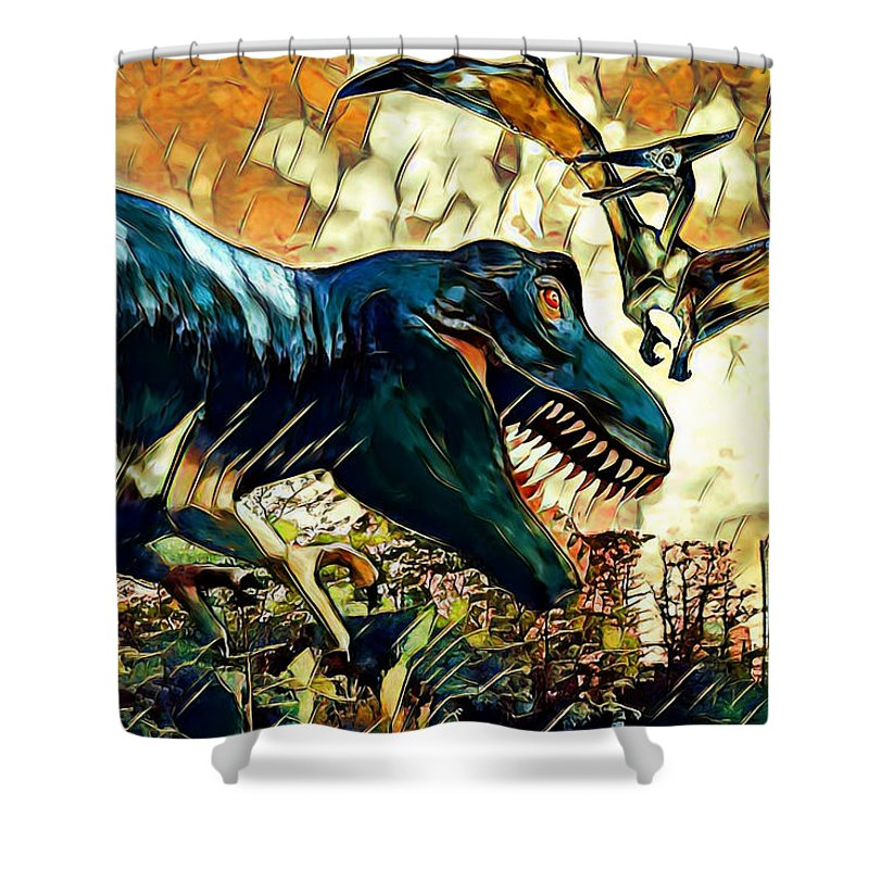 Dinosaurs Shower Curtain featuring the digital art Escape From Jurassic Park by Pennie McCracken