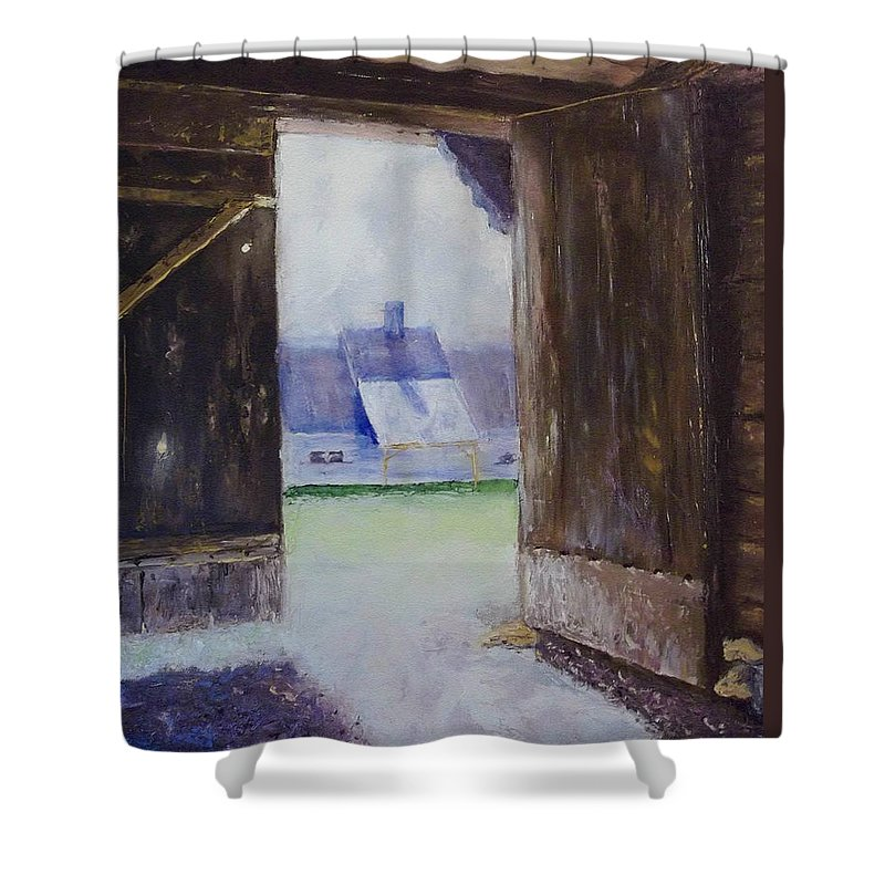 Shed Shower Curtain featuring the painting Escape The Sun by Stephen King