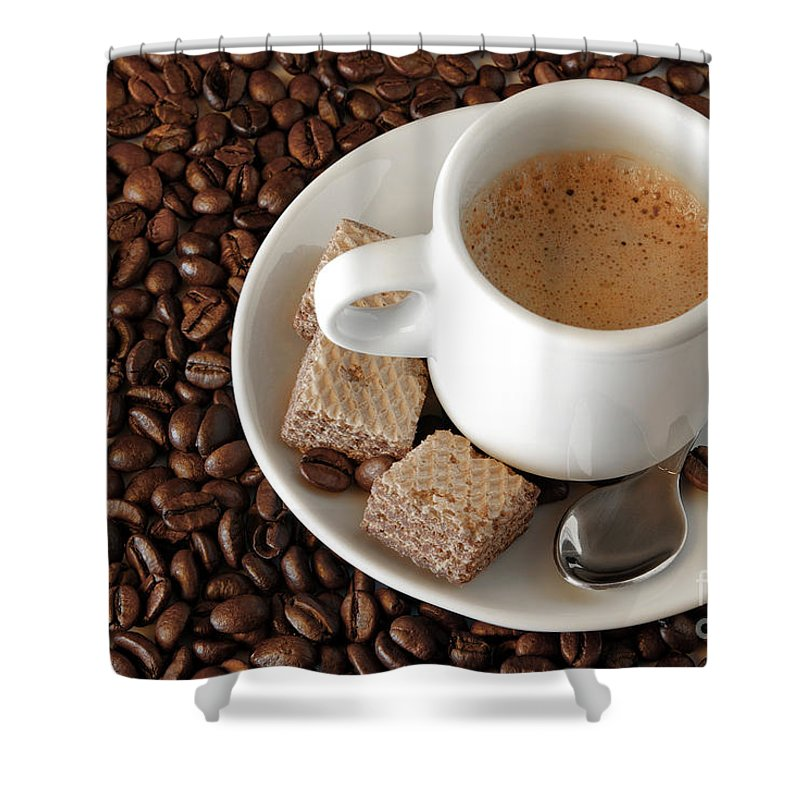 Addiction Shower Curtain featuring the photograph Espresso Coffee by Carlos Caetano