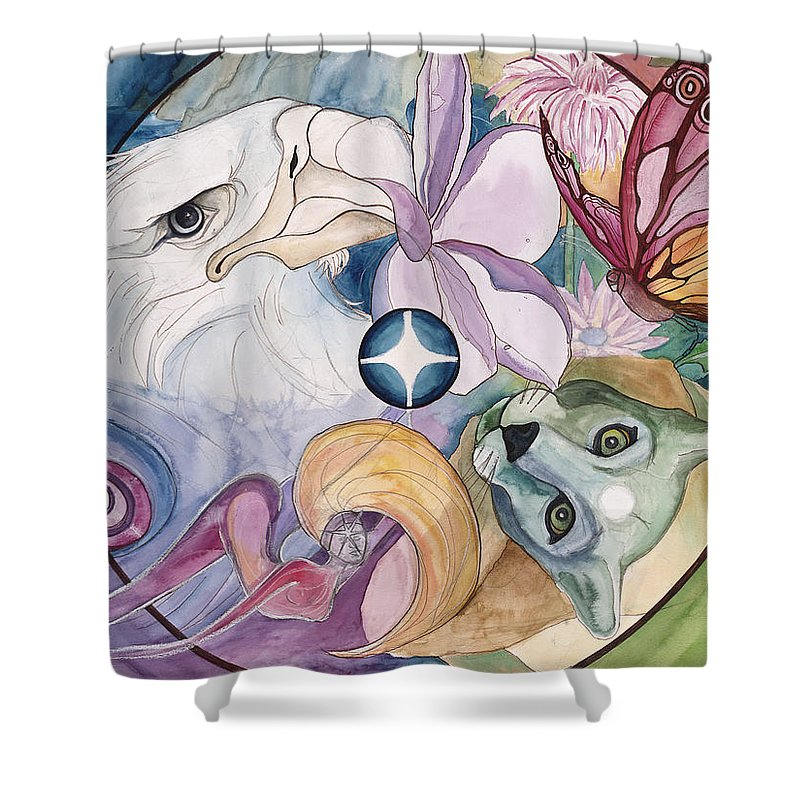 Wildlife Shower Curtain featuring the painting Essence Wheel by Kimberly Kirk