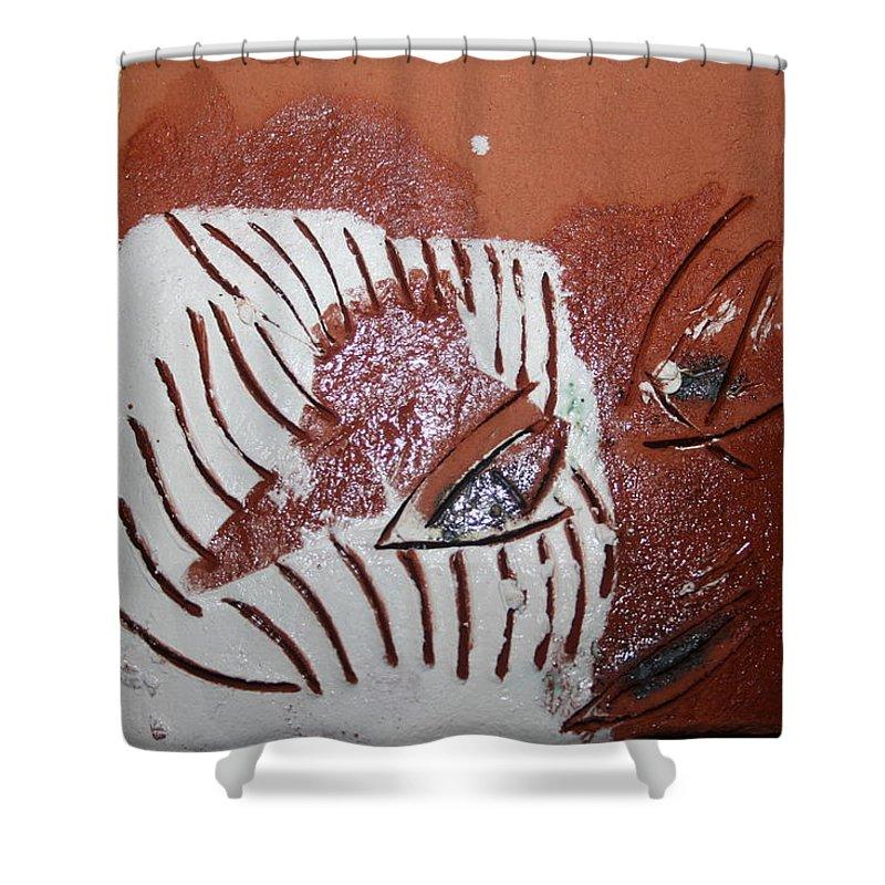 Jesus Shower Curtain featuring the ceramic art Estelle - Tile by Gloria Ssali