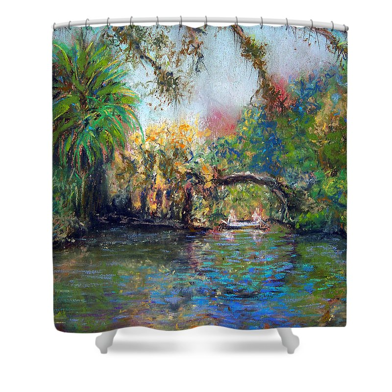 Koreshan State Park Shower Curtain featuring the painting Estero River At Koreshan by Laurie Paci