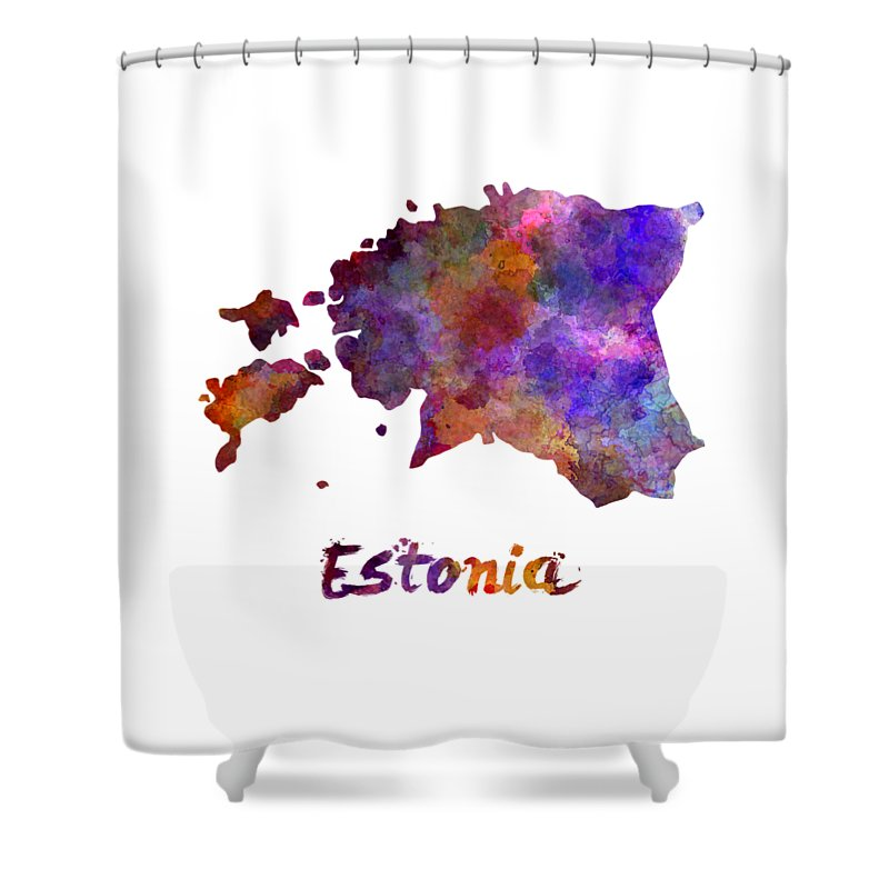 Estonia Shower Curtain featuring the painting Estonia In Watercolor by Pablo Romero