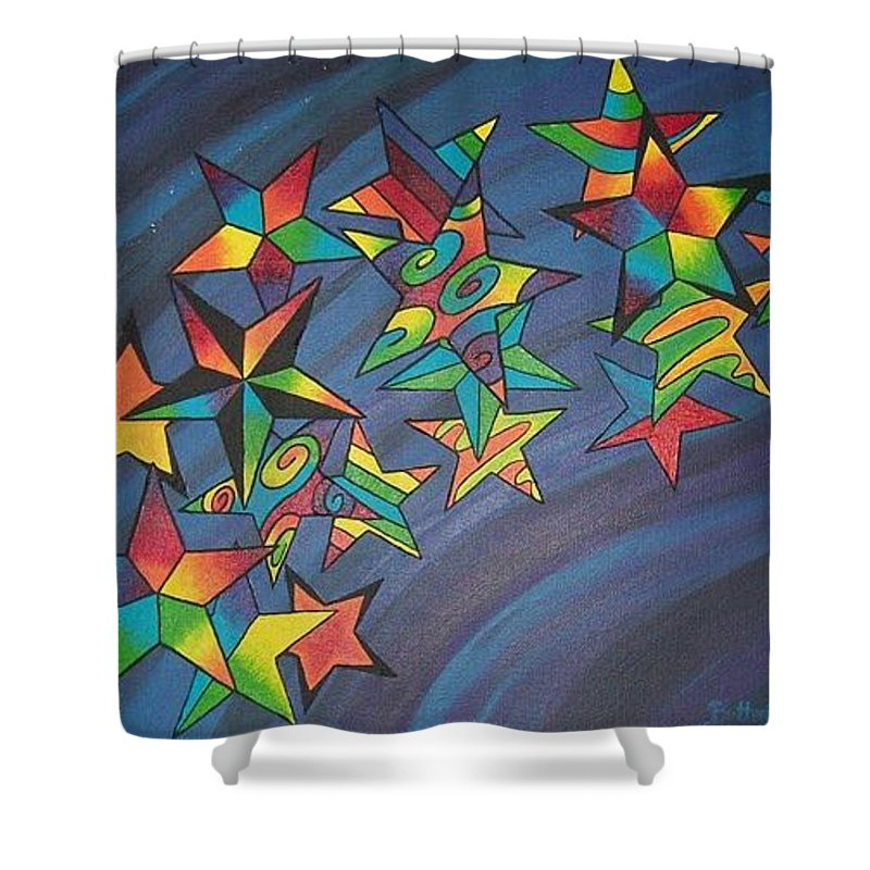 Colors Shower Curtain featuring the painting Estrellas by Emmely Hillewaert