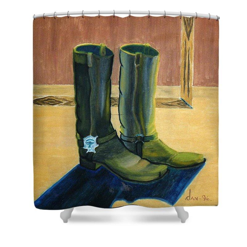 Shower Curtain featuring the painting Et Par Stoevler 1996 by Dan Rasmussen