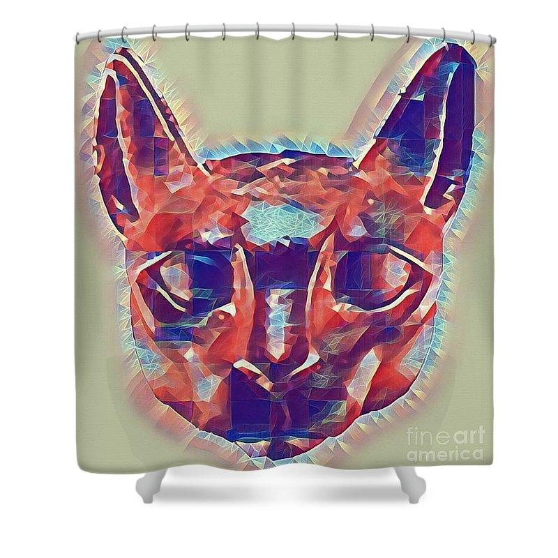 Cat Shower Curtain featuring the digital art Eternal Cats by Robert Radmore
