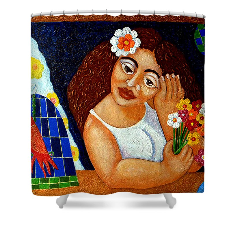 Eve Shower Curtain featuring the painting Eternal Eve - II by Madalena Lobao-Tello