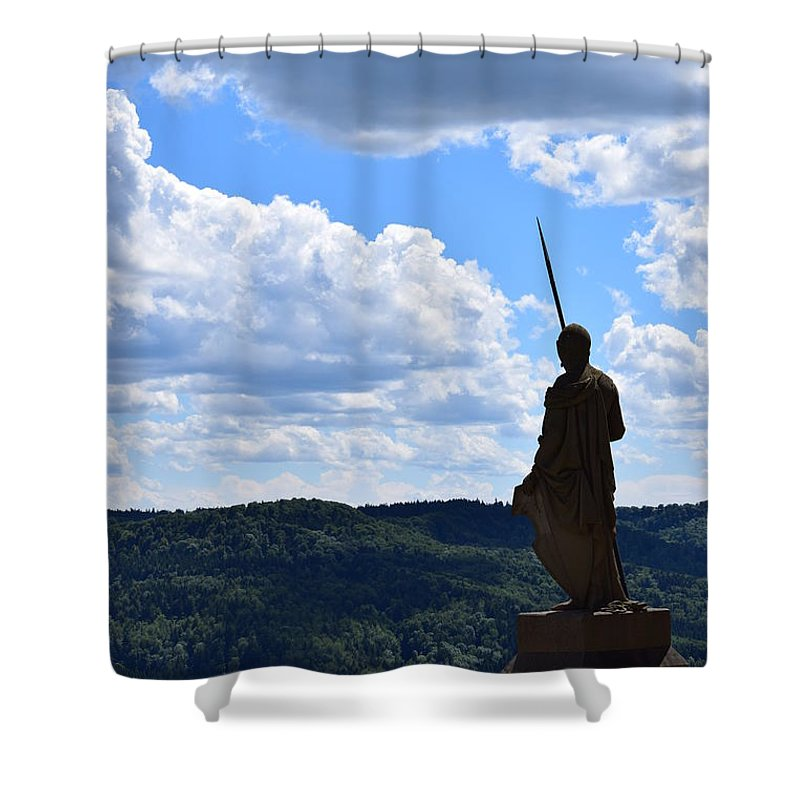 Statue Shower Curtain featuring the photograph Eternal Guard by Tiffany Gobert