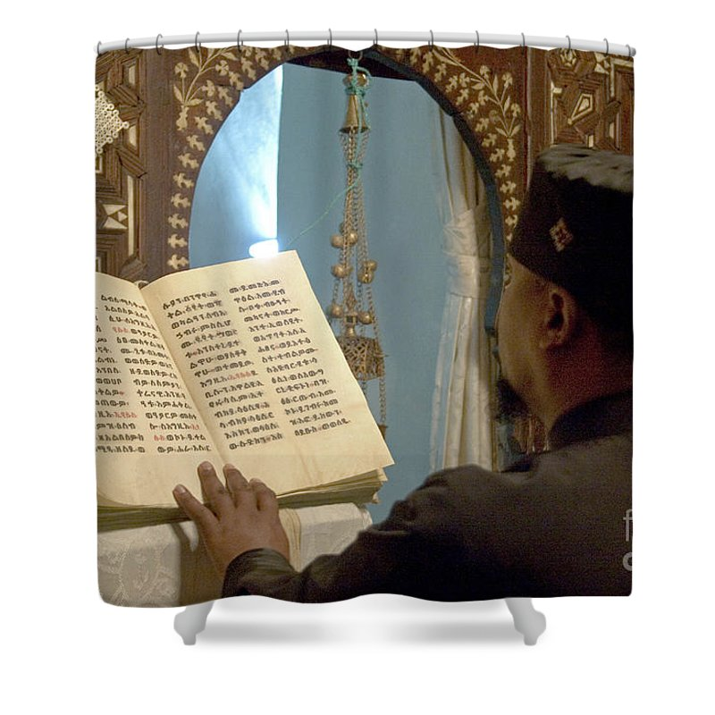 Christian Shower Curtain featuring the photograph Ethiopian Priest by Danny Yanai