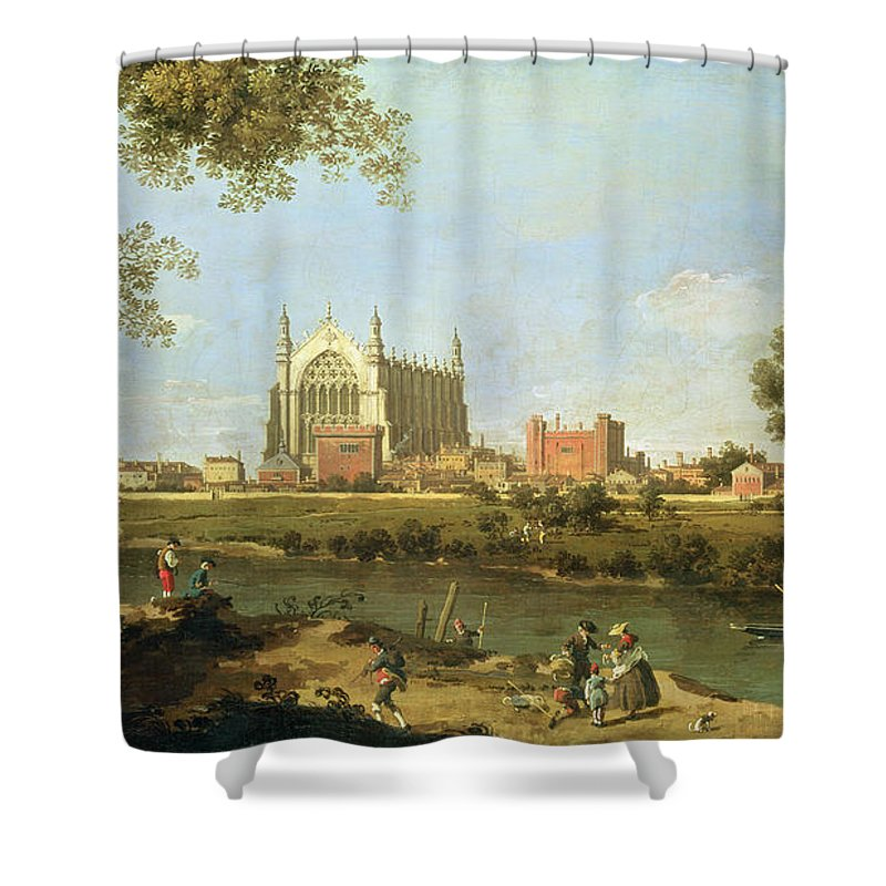 Eton Shower Curtain Featuring The Painting College By Canaletto
