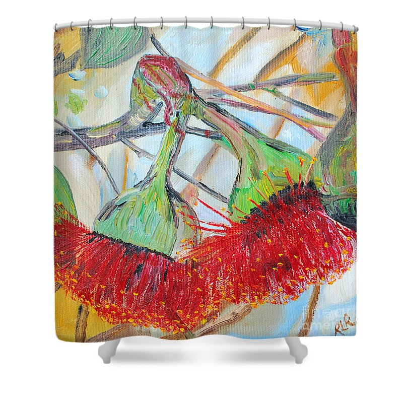 Flowers Shower Curtain featuring the painting Eucalyptus Flowers by Reina Resto
