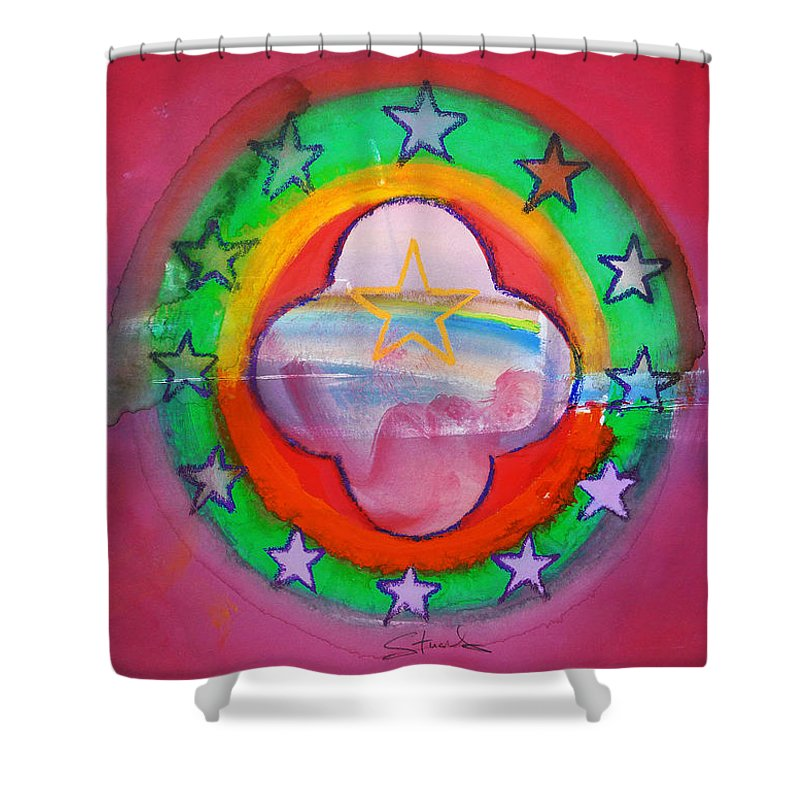 Symbol Shower Curtain featuring the painting Euro Fishing Boat by Charles Stuart